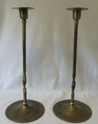 Antique Pr ROYCROFT HAND HAMMERED Twisted COPPER CANDLE HOLDERS  ARTS & CRAFTS