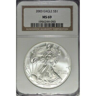2003-P $1 American Silver Eagle Coin -NGC MS69 -Eye Appeal ! AA652UHCT