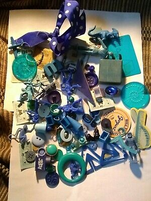 Blue Upcycle Repurpose Collage Assemblage Altered Art Found Object Junk Bag