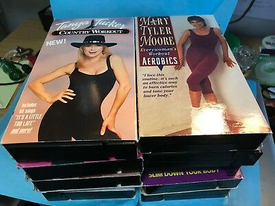 LOT OF 10 VHS WORKOUT TAPES + MOVING THROUGH MENOPAUSE-----------------------rw