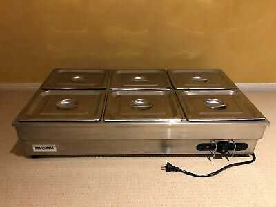 """Bain Marie Commercial 6-Pan Momi """"Ricardo"""" SB-6T Excellent Condition as new"""