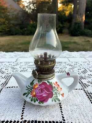 "Mini OIL LAMP Trimont Ware Ceramic Hand Painted Rose Japan 5.5"" Vntg Collectible"