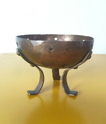 Signed Arts & Crafts Hammered Copper Footed Bowl Elizabeth Burton ? Batchelder ?