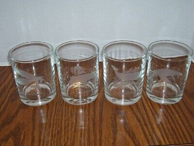 LOT 4 Etched Cut Tumbler Old Fashioned Glasses WHALES -4 different whales FRANCE