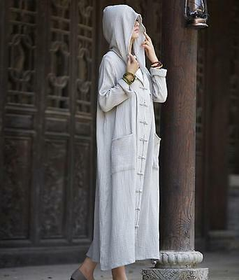 2019 Womens Hooded Robe Button Linen Coat loose Long Jacket Parkas Long Dress