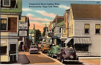 Commercial Street Looking West Provincetown Cape Cod MA Vintage Postcard R09