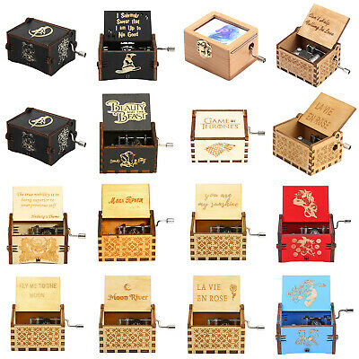 Retro Wooden Hand Cranked Music Box Home Crafts Decor Ornaments Children