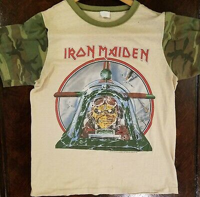 5699ba8b IRON MAIDEN - Aces High CAMO Vintage Tee Shirt LARGE CLEAN! rare AUTHENTIC  80's