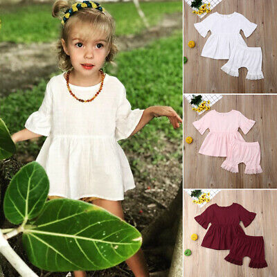 2PCS Infant Baby Girl Clothes Flared Tops Dress Lace Shorts Outfits Sunsuit Set