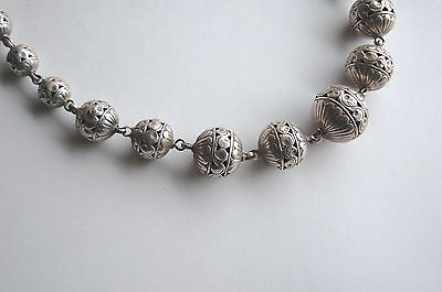 Antique North African Berber silver beads large necklace, 161 grams