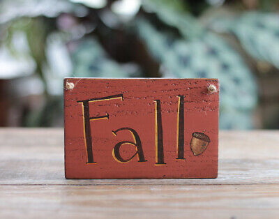 Fall Wood Sign with Acorn Rustic Harvest Primitive Decor - Custom Hand Painted