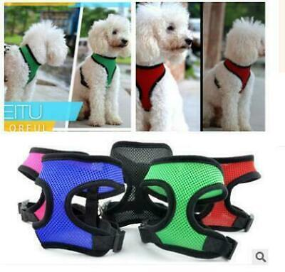 Soft Mesh Fabric Dog Puppy Pet Adjustable Harness   Lead Leash with Clip UK Ship
