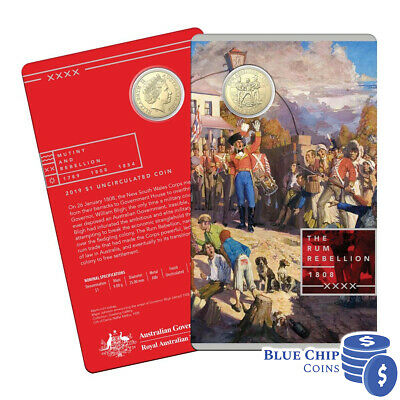 2019 UNC $1 Rum Rebellion Coin on Card