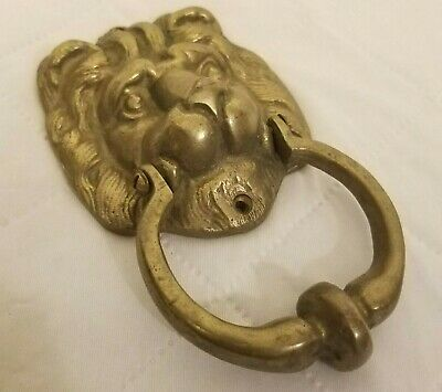 Lion Head Door Knocker Vintage Large Heavy Brass Gold Finish Collectible