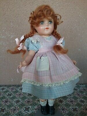 """Vintage 1930s Madame Alexander doll Ana McGuffey composition 11"""" tagged dress"""