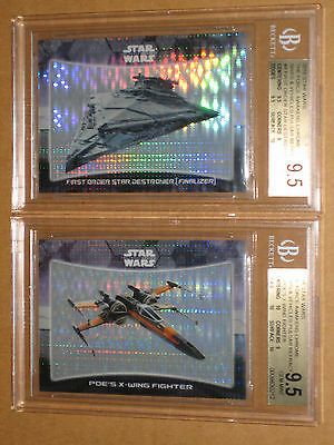 ✨ Bgs 9.5 Star Wars Force Awakens Chrome Poe X-Wing Star Destroyer Pulsar /10