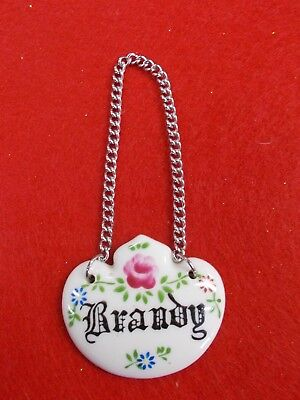 Vintage Decanter Label ' Brandy ' Made In Japan - On A St/St Curb Chain - Vgc