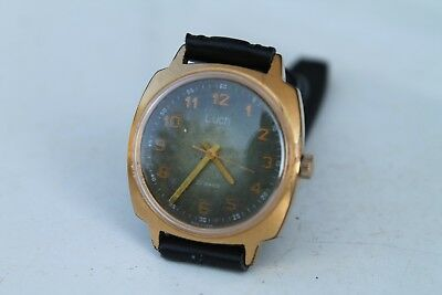 Vintage Russian CCCP wrist watch Luch Gold Plated 23Jewels