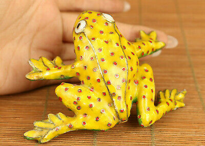 Chinese old cloisonne hand painting fortune frog statue figure table decoration