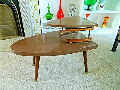 Unusual Mid Century Coffee/Side/Telephone/Plant Table with Shelf Wooden/Formica