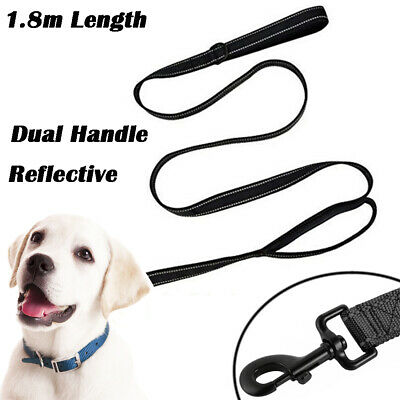 180cm Strong Nylon Pet Lead Heavy Duty Dog Leash with Double Handle Black PS249