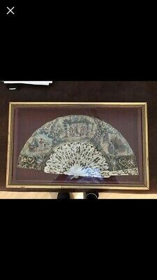 Antique Framed & mounted Mother of Pearl & Brussels Lace Fan Victorian 1890's
