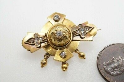 FINE QUALITY ANTIQUE ENGLISH 15K GOLD OLD & ROSE CUT DIAMOND BROOCH c1870