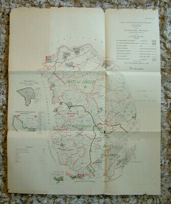Rare - LINCOLNSHIRE Antique Ordnance Survey Map 1888. Robert Owen Jones