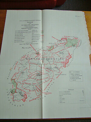 Rare - NORTHAMPTONSHIRE Antique Ordnance Survey Map 1888. Robert Owen Jones