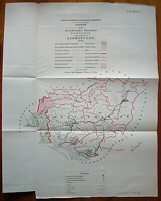 Rare - CARMARTHENSHIRE Antique Ordnance Survey Map 1888. Robert Owen Jones