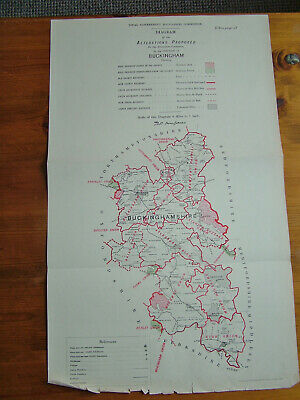Rare - BUCKINGHAMSHIRE Antique Ordnance Survey Map 1888. Robert Owen Jones
