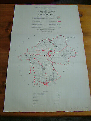 Rare - WESTMORLAND Antique Ordnance Survey Map 1888. Robert Owen Jones
