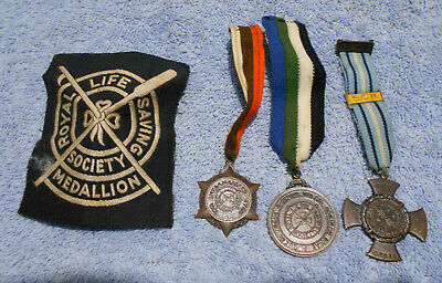 #D498.  THREE 1950s  ROYAL LIFE SAVING SOCIETY  MEDALS & PATCH