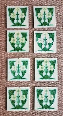 Set of 8 Original Antique Vintage 6 inch Art Nouveau Fireplace Wall Tiles