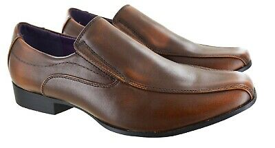 Mens Gents Smart Work Casual Flat Office Slip On Brown Wedding Party Shoes Size