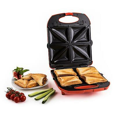 Toasteur Gaufrier Sandwich Maker Grillade 4 Croque-monsieurs 3 Fonctions Rouge