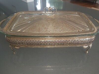 Queen Anne silver casserole dish with lid