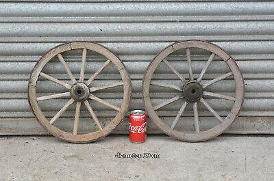 2x vintage old wooden cart carriage wagon wheels wheel - 39 cm