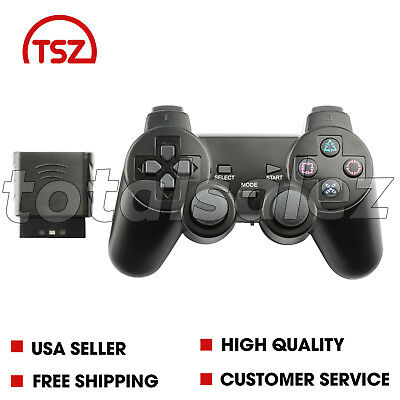 Black Wireless Shock Game Controller Joypad Pad for Sony PS2 Playstation 2