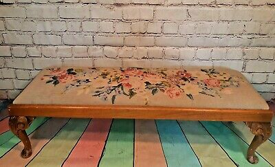 Antique Vintage Long Foot Stool Duet Ottoman Tapestry Carved Cabriole Legs