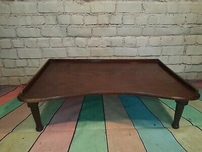 Vintage Antique Edwardian Folding Solid Wooden Butlers Serving Bed Tray Table