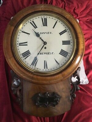 Large Antique  14 Inch Dial Drop Dial Chain Drive  Fusee Wall Clock