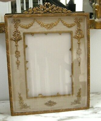 Antique Vintage French Ormolu Gilded Bronze Picture Frame Baskets Flowers