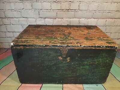 Old Vintage Industrial Rustic Wooden Storage Ammunition Trunk Chest Blanket Box