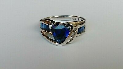 10kt White Gold Lab Created Blue Sapphires & Diamonds Ring