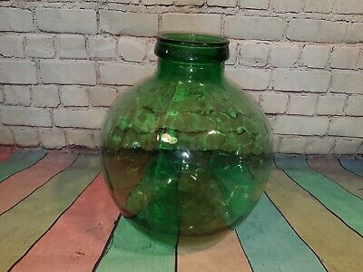 Vintage French Large Hand Blown Green Glass Carboy Terrarium Tropical Plants