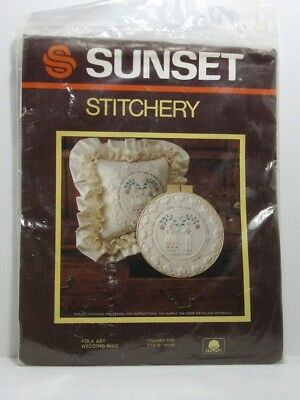 Sunset Folk Art Wedding Ring Pillow/Wall Hanging Kit #2873 Hearts Love Opened