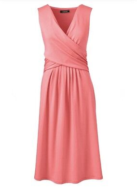 Lands End Size L Women's Fit & Flare Wrap Bodice Style Dress Coral Sleeveless