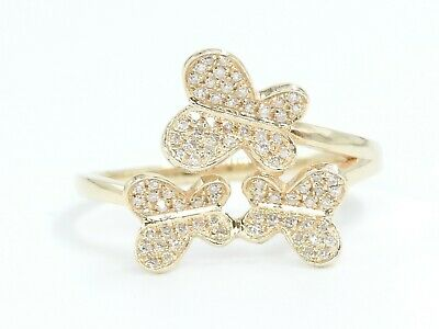 14K Solid Yellow Gold Beautiful 3 Butterflies Natural White Diamond Ring Size 7