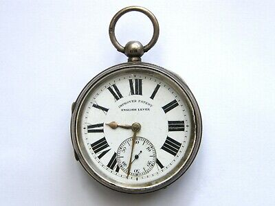 Antique Large & Heavy Solid Silver Pocket Watch-Imp Patent English Lever-c1900